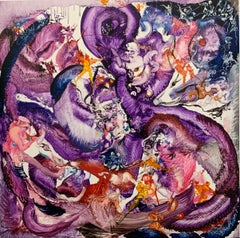 Year of Emotion, Reginald Pollack Abstract Expressionist Oil on Masonite Purple