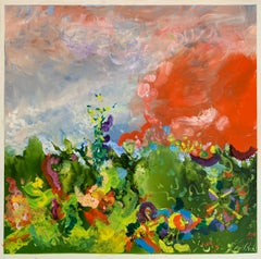 Summer Dance, Reginald Pollack Abstract Expressionist Oil on Masonite Flowers