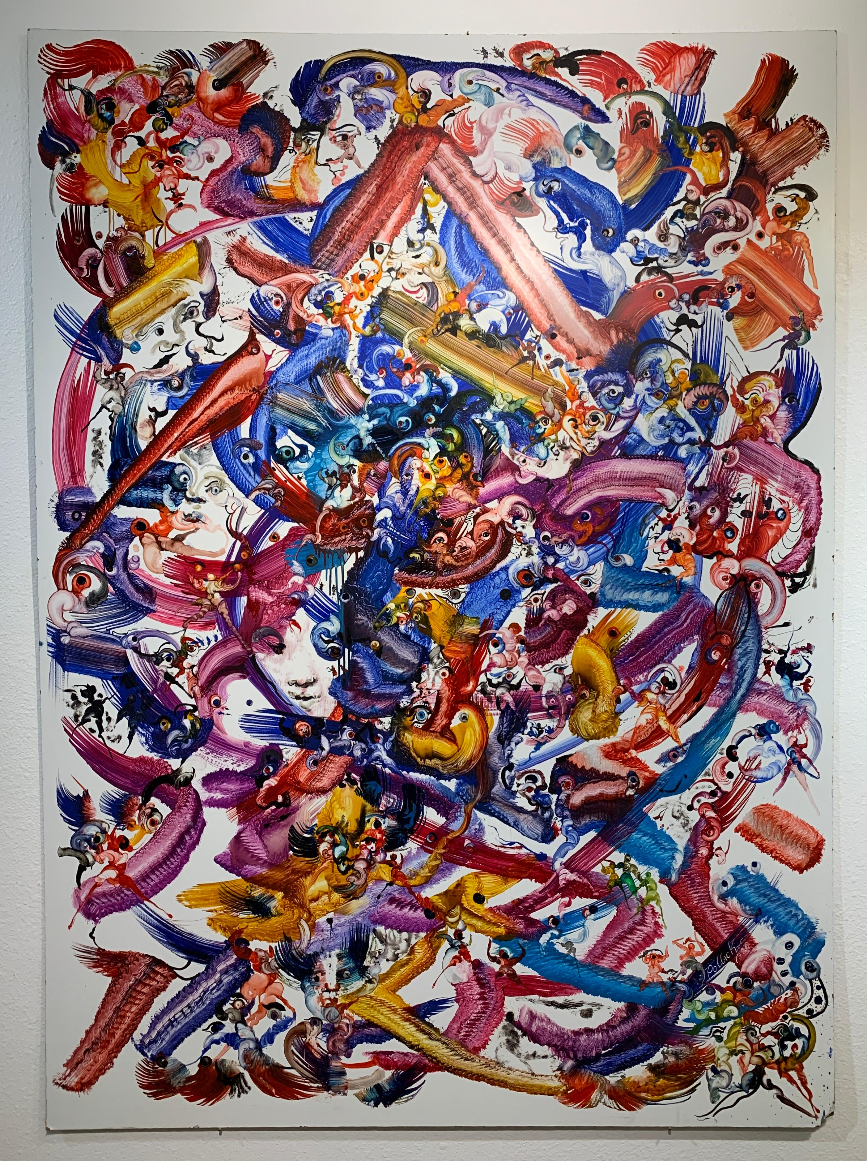 Affirmation, Reginald Pollack Abstract Expressionist Oil Masonite Multicolor