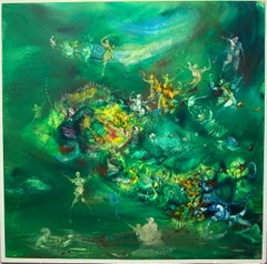 Green and Gold, Reginald Pollack Abstract Expressionist Oil on Masonite Meadow
