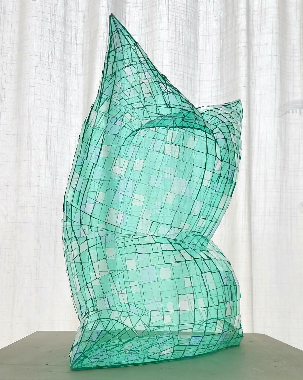 Glass Pillow (Green), Colin Roberts Plexiglass Sculpture Transparent