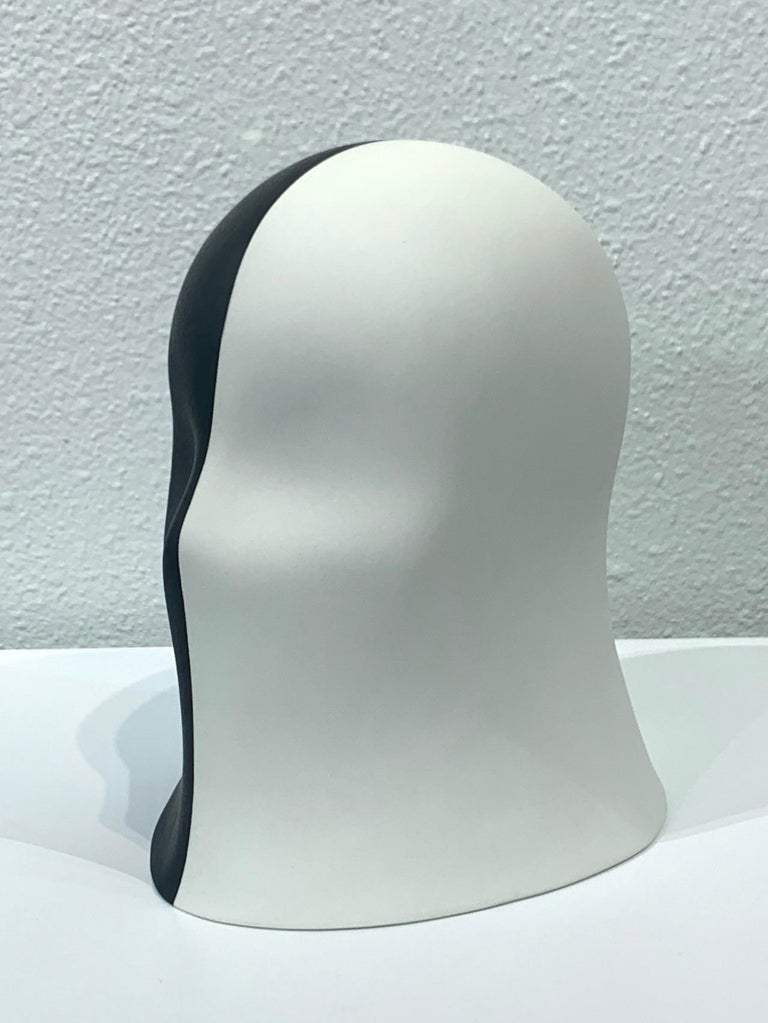 Black/White Embellished Veil, Chloe Rizzo Sculpture Porcelain Female For Sale 2