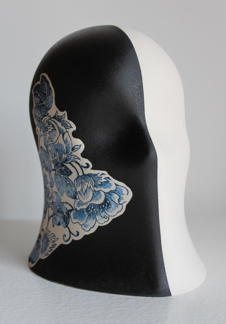 Black/White Embellished Veil, Chloe Rizzo Sculpture Porcelain Female - Gray Figurative Sculpture by Chloe Rizzo