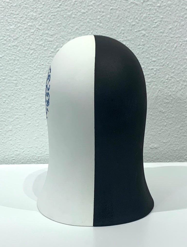 Black/White Veil, Chloe Rizzo Sculpture Porcelain Female Head For Sale 5