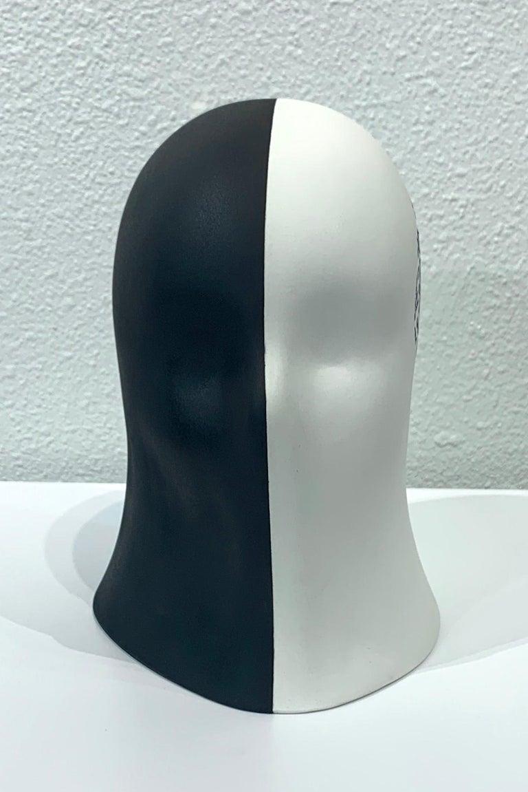 Black/White Veil, Chloe Rizzo Sculpture Porcelain Female Head For Sale 2