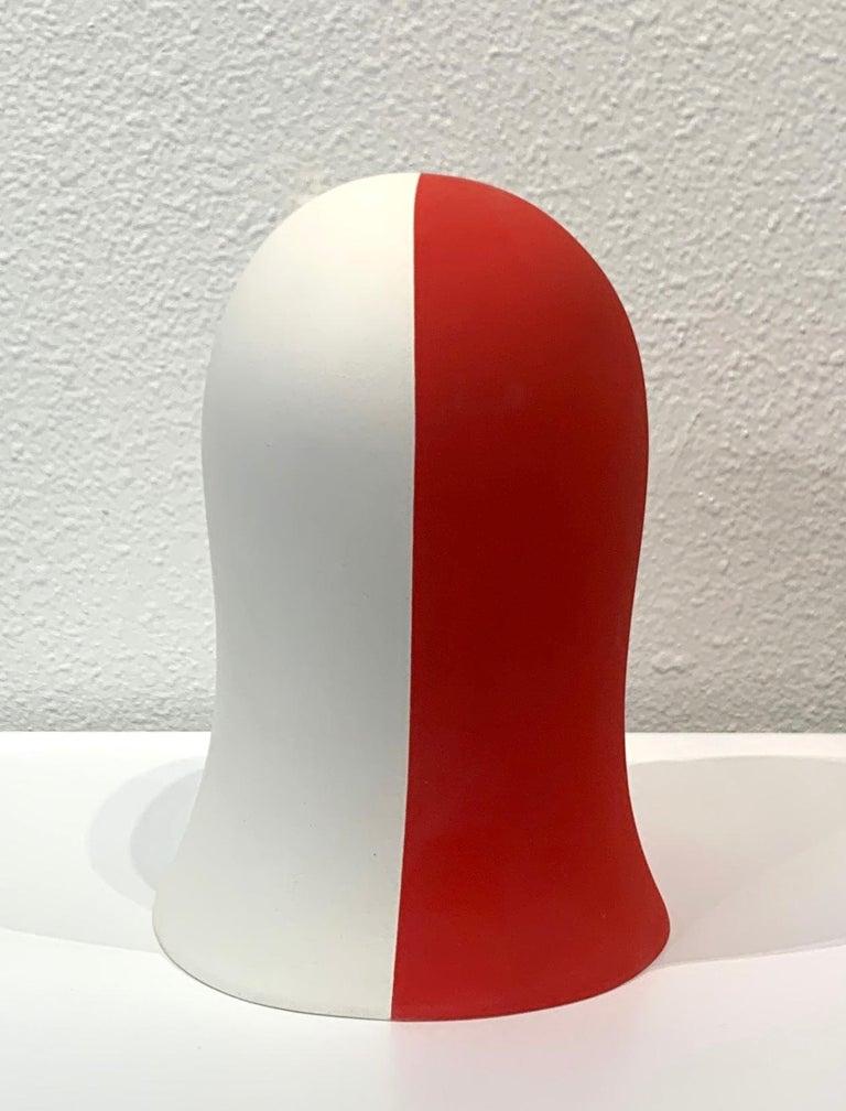 Red/White Veil, Chloe Rizzo Sculpture Porcelain Female Head For Sale 2