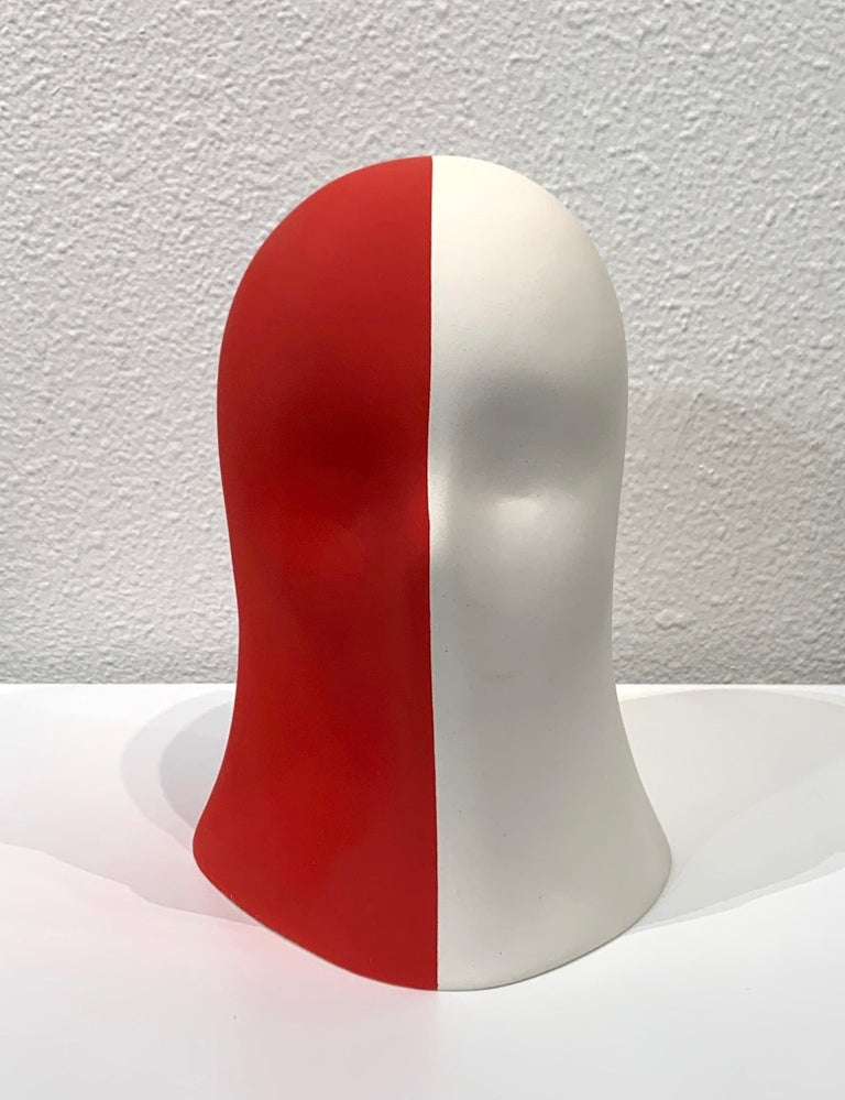 Red/White Veil, Chloe Rizzo Sculpture Porcelain Female  A porcelain and glaze sculpture by artist Chloe Rizzo.  Her