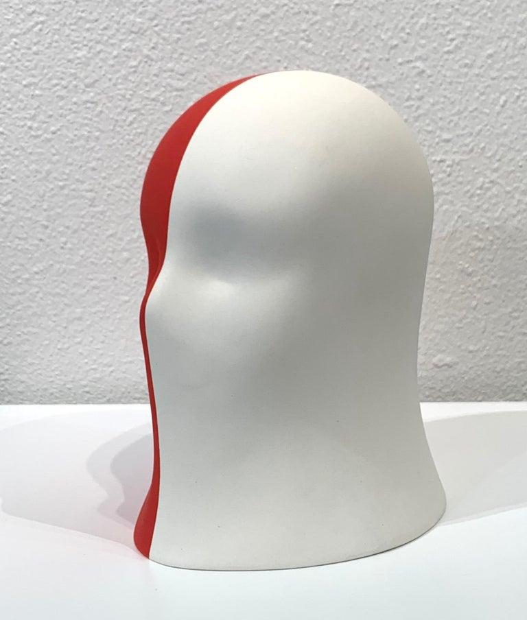 Red/White Veil, Chloe Rizzo Sculpture Porcelain Female Head For Sale 1