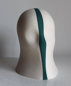 Teal Division Veil, Chloe Rizzo Sculpture Porcelain Female Head White