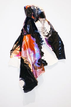 Cape Form Artifact, by Darcie Book Paint on Cotton Crepe Sculptural Painting