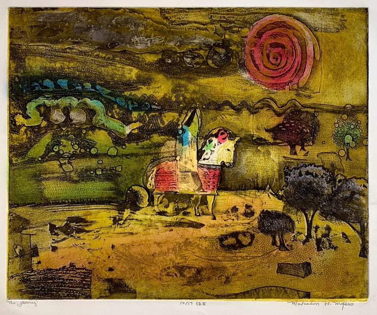 The Journey Ed II, by Malcolm Myers Intaglio Knight Series Gold Don Quixote For Sale 1