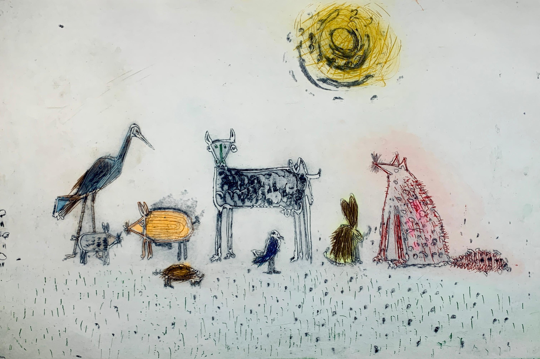The Animal Kingdom, by Malcolm Myers Intaglio Animal Series Fox Rabbit Sun Stork