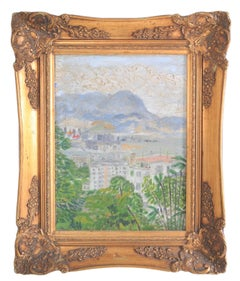 Chinese Impressionist Oil Painting on Board Hong Kong Landscape Hu Shanyu, 1950s