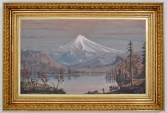 Monumental Antique Pacific NW Oil Painting Mt. Hood Oregon Cyrus Adams Reed 1875
