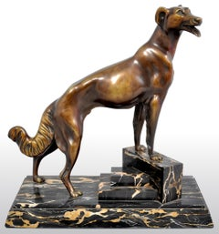 Antique French Art Deco Bronze Russian Borzoi/Wolfhound Louis-Albert Carvin 1925