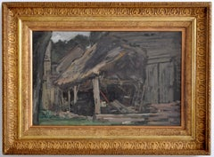 Antique French Impressionist Oil Painting Farm Landscape by Paul Poseler 1900