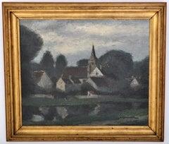 Antique French Post-Impressionist Oil Landscape Painting Pierre Ladureau 1920