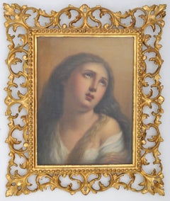 """Mary Magdalene,"" Antique Italian Grand Tour Oil on Canvas Circa 1840 Guido Reni"