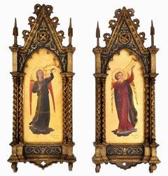 Antique 19thC. Italian Florentine Painted Gothic Renaissance Panels Olga Ciardi
