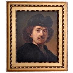 """""""Rembrandt Self-Portrait""""  Italian Oil on Canvas Circa 1885 by Giuseppe Zanetti"""