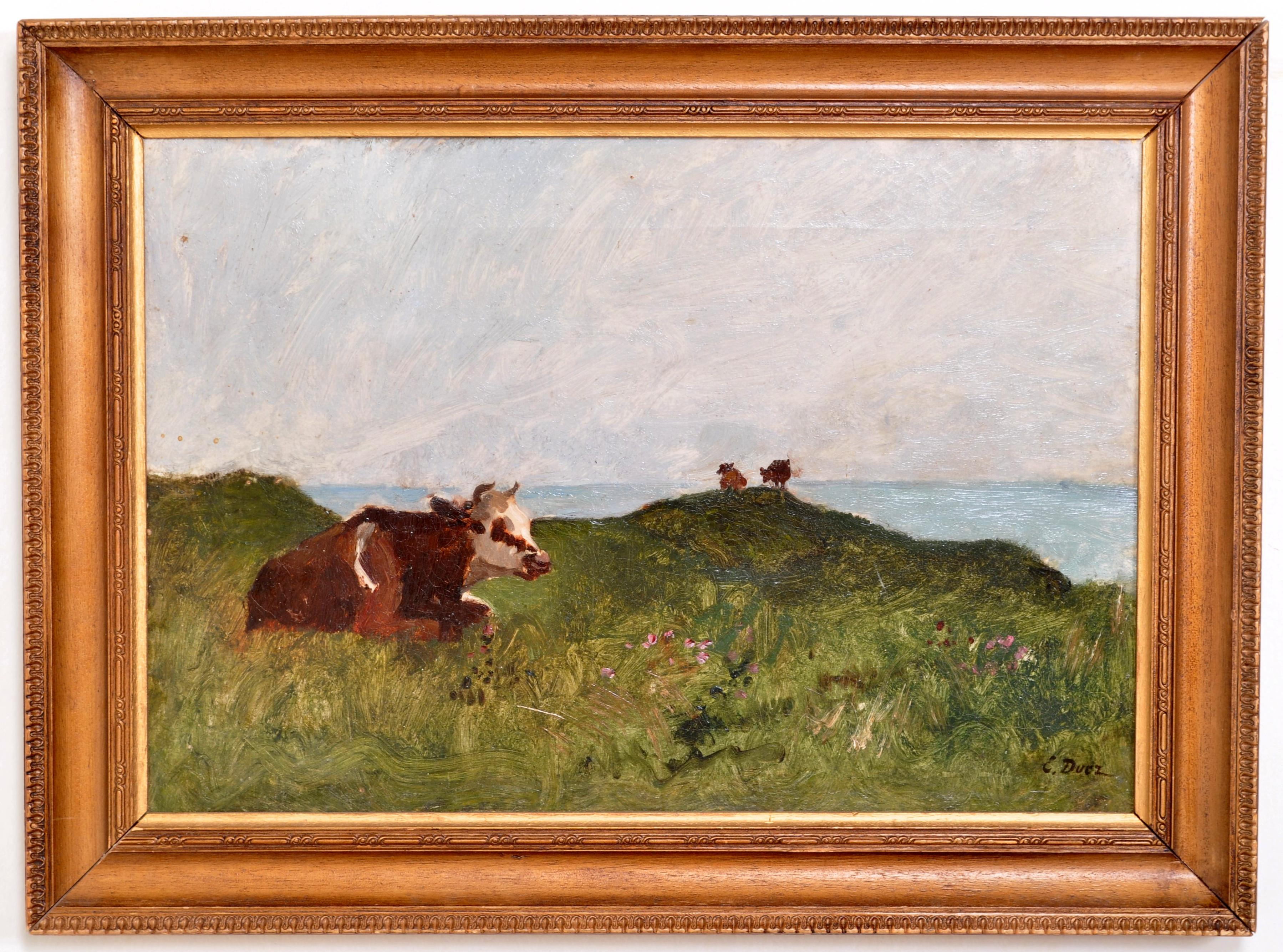 """Antique French Impressionist Oil Painting on Canvas """"Cows"""" Ernest Ange Duez 1880"""