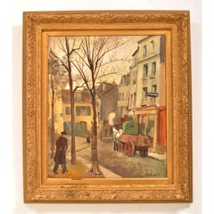 French Oil on Canvas Michel Dureuil Street Scene New School of Paris 1948