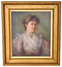 Antique Late 19th Century English Oil on Canvas Painting Female Portrait 1900
