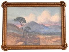 Antique Scottish Impressionist Watercolor Landscape Painting Dunbartonshire