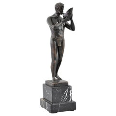 Antique Austrian Neoclassical Bronze Male Nude Sculpture Secessionist Circa 1910
