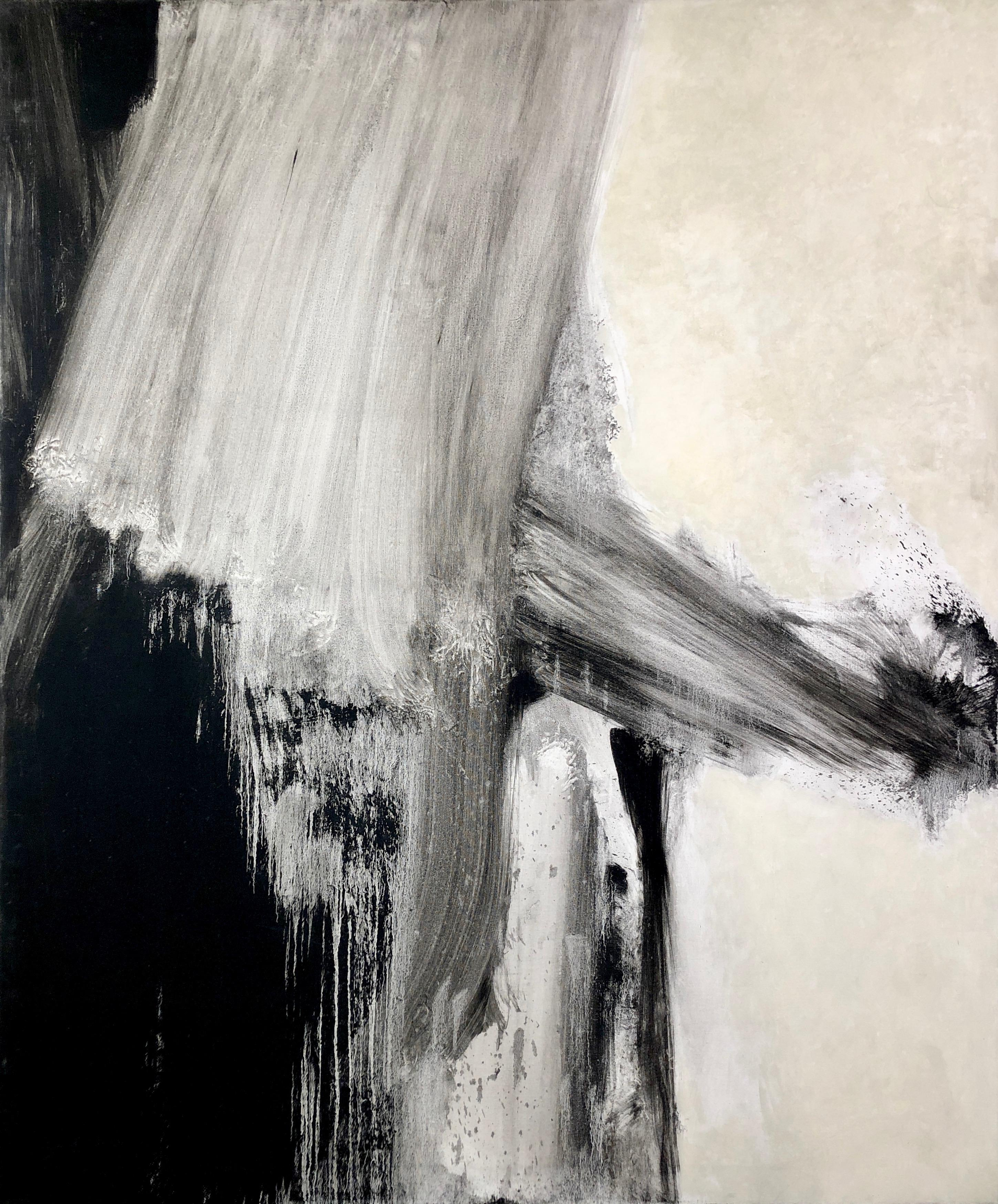 Seacoast, John Hubbard. Large abstract oil painting, black and white gestural