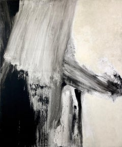 John Hubbard, Seacoast, 1961, large oil painting. Abstract, Black and white