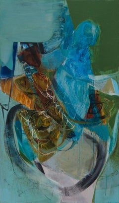 Peter Joyce, Pervading Greens, large abstract painting. Liminal, Expressive