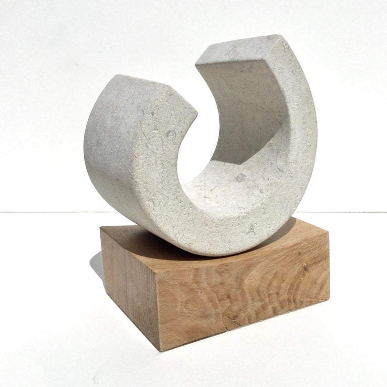You III, Richard Fox. Small abstract stone sculpture on oak plinth, carved - Contemporary Sculpture by Richard Fox