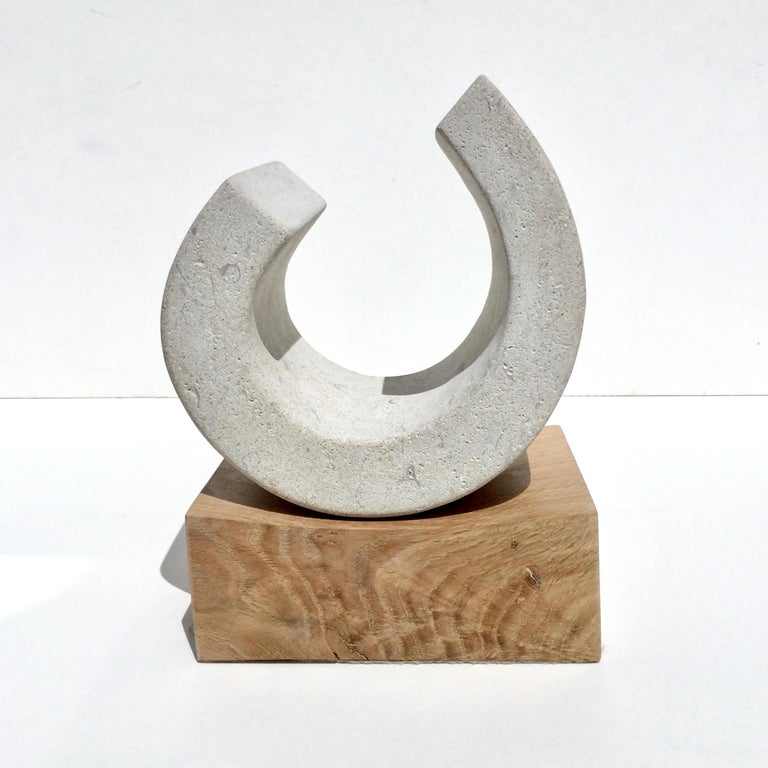 You III, Richard Fox. Small abstract stone sculpture on oak plinth, carved - Sculpture by Richard Fox