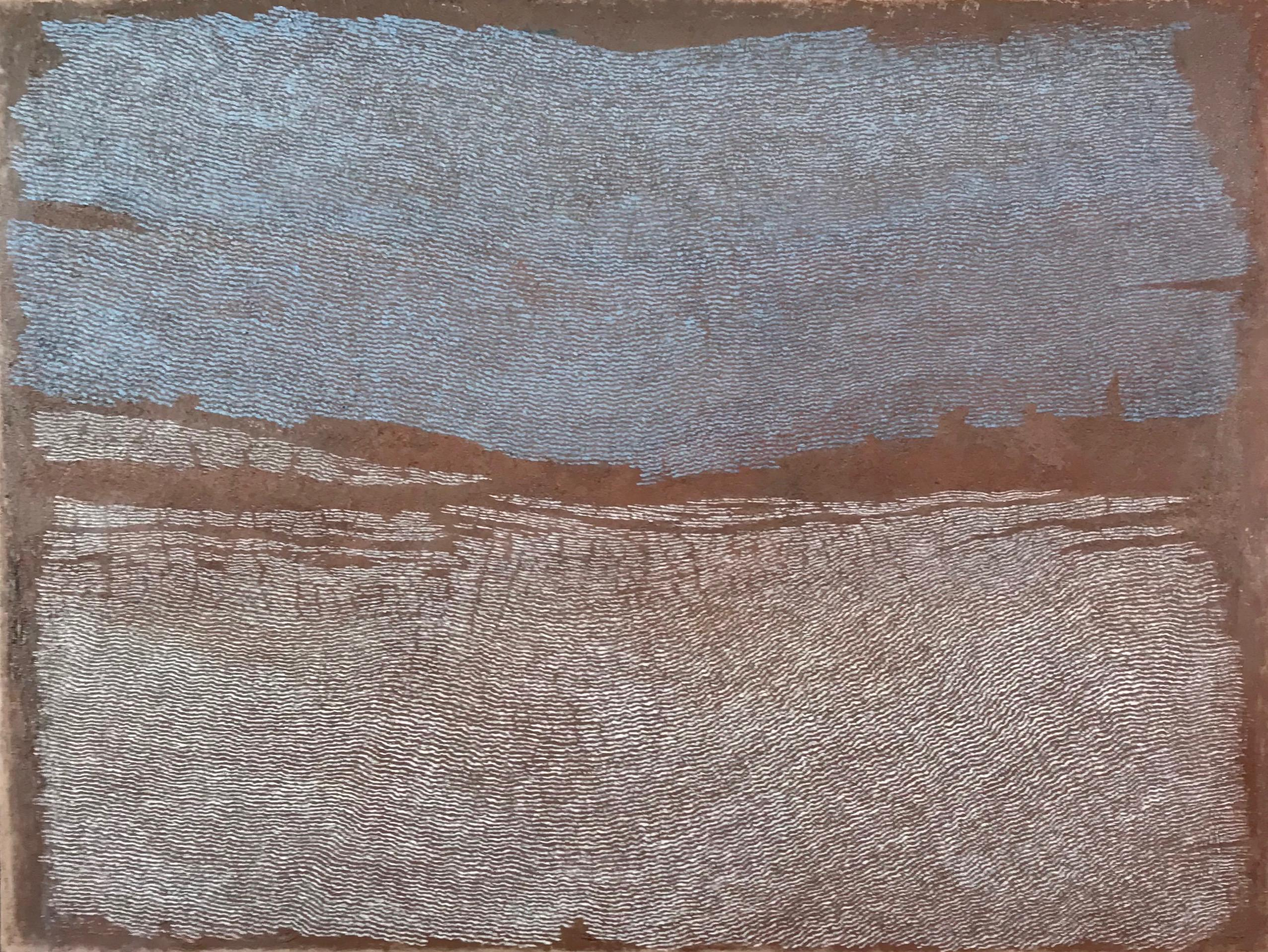 Low Tide Estuary, Pamela Burns. Linear abstract oil painting, Welsh harbour