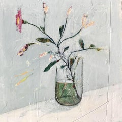 From the Garden, Jane Skingley. Still life oil painting, flowers in a glass vase
