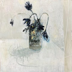 Shadow Blooms, Jane Skingley. Still life oil painting, flowers in a vase/jar