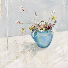 Meadow in a Jug, Jane Skingley. Still life oil painting, flowers in a vase, jug
