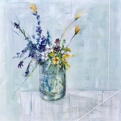 Walk in the Woods, Jane Skingley. Still life oil painting, flowers in a vase/jar