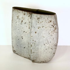 Irregular vessel III, Paul Philp. Ceramic pot, chalky, dry cream glaze