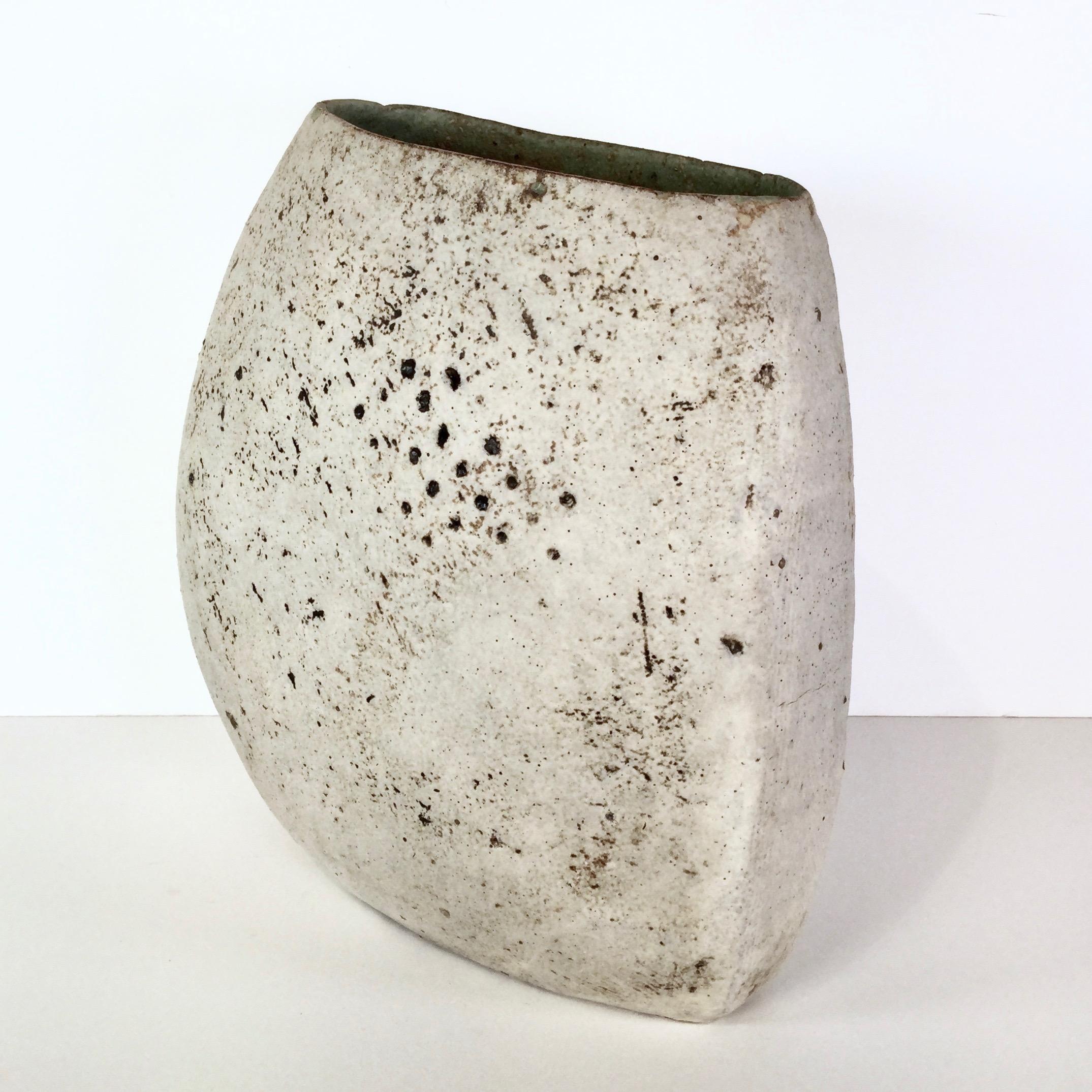 Irregular vessel II, Paul Philp. Stoneware ceramic, chalky, dry white glaze