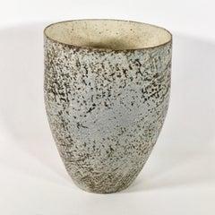 Paul Philp, Tall Vessel. Stoneware ceramic, light, chalky surface, dry glaze