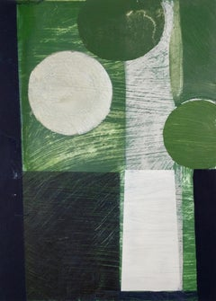 Daisy Cook, Tree with Sap Green II, Abstract, geometry, bold, bright, oil paint
