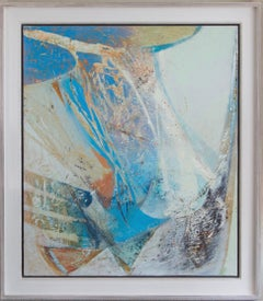 Flurry, abstract acrylic landscape painting, Peter Joyce, blue