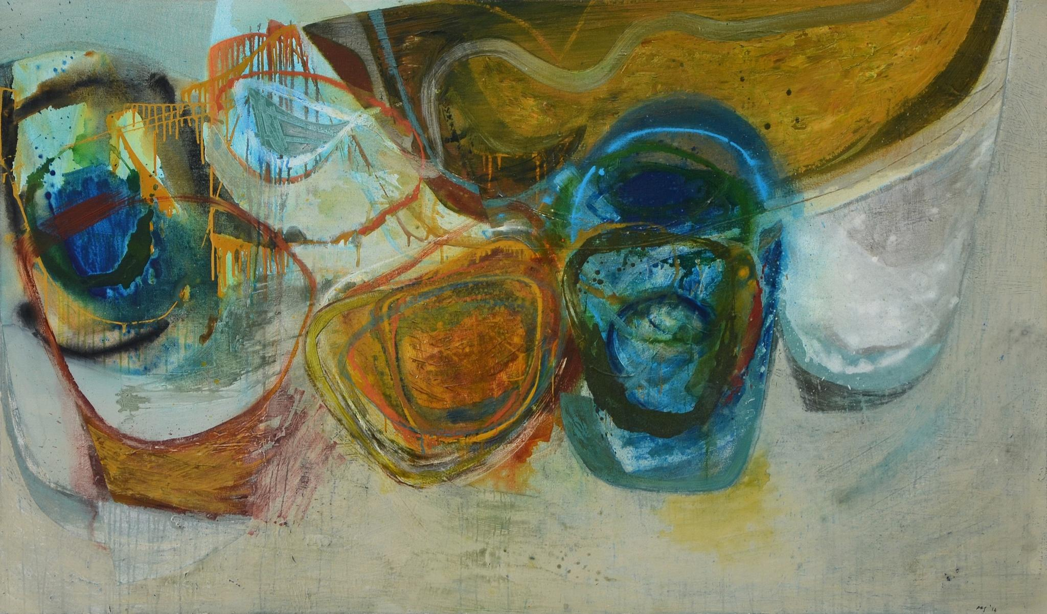 Peter Joyce, September, large abstract painting. Liminal landscape