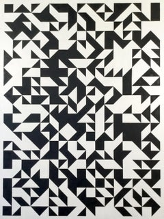 Jon Probert, Black and White large oil painting. Abstract, Constructivist