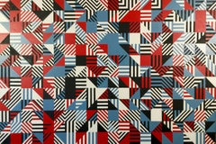 Jon Probert, Red Blue, Black large oil painting. Abstract, Constructivist