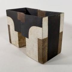 Paul Philp, Angular vessel with abstracts II. Stoneware ceramic, 'razzle dazzle'