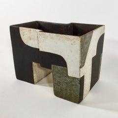 Paul Philp, Angular vessel with abstracts I. Stoneware ceramic, 'razzle dazzle'