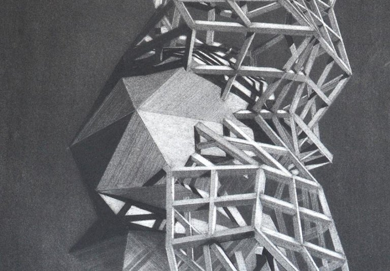 charcoal on paper; unframed   Travis Rice received his MFA from Arizona State University's Herberger Institute for Design and the Arts. Influenced by his background in architecture, his work incorporates 3D modeling to create complex hard edge